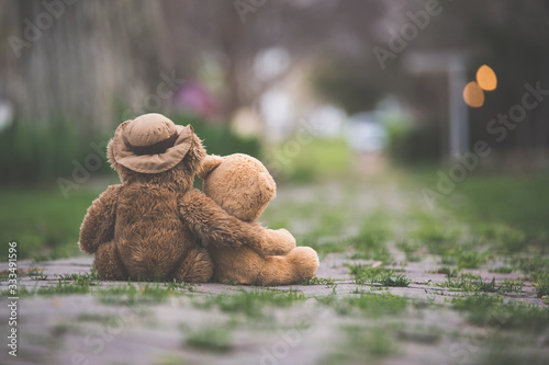 One teddy bear with his/her arm wrapped around a smaller teddy bear showing compassion on a grassy street