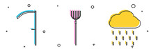 Set Scythe, Garden Pitchfork And Cloud With Rain Icon. Vector