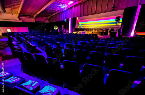 Obraz empty chairs in large Conference hall for Corporate Convention or Lecture - fototapety do salonu