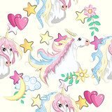 Fototapeta Dinusie - pattern with cute unicorns, clouds,rainbow and stars. Magic background with little unicorns.