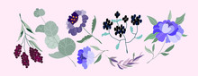 Set Of Vector Flowers. Elegant...