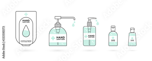 Fototapeta Hand sanitizer containers icon set. Washing alcohol gel used against viruses, bacteria, flu, coronavirus. Waterless hand cleaner. Handwashing. Black outline. Vector illustration, flat design obraz