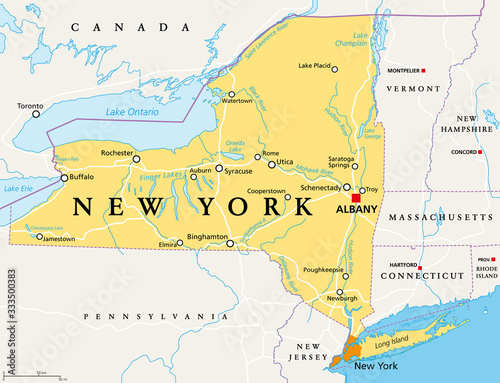 New York State (NYS), political map, with capital Albany, borders, important cities, rivers and lakes Wallpaper Mural