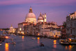 Grand Canal and Santa Maria della Salute on sunset. Venice, Italy. picture with long exposure