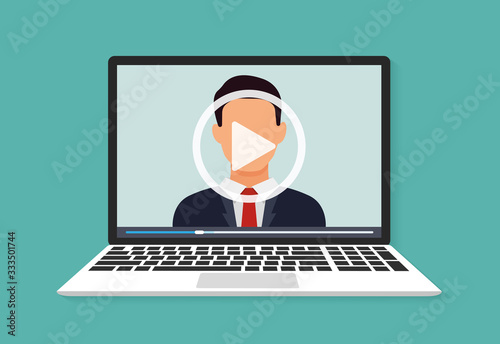 Fototapeta Illustration of webinar, online conference and training. Flat. Vector illustration obraz