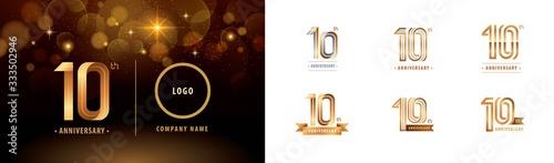 Leinwand Poster Set of 10th Anniversary logotype design, Ten years Celebrate Anniversary Logo