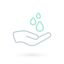 Hand Washing Icon. Hand With W...