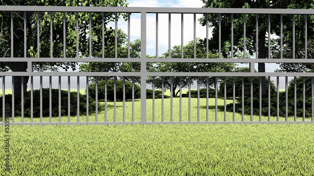 Fence in Nature 3D Rendering - obrazy, fototapety, plakaty