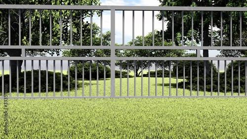 Fototapeta Fence in Nature 3D Rendering obraz na płótnie
