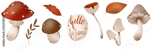 Photo Fly agaric, lettering the words hello autumn, honey mushrooms, russula, leaf set cute texture digital art