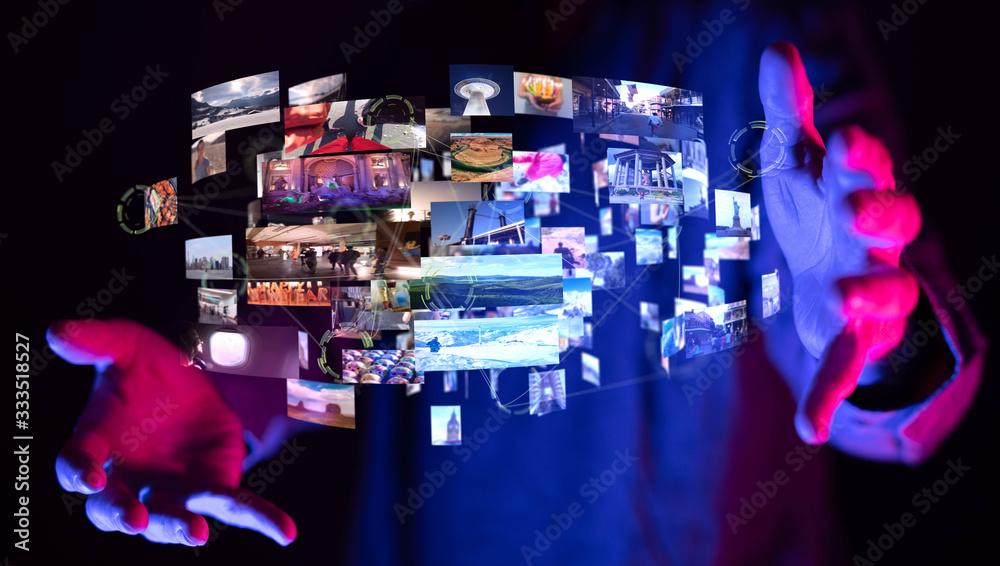 Fototapeta Internet broadband and multimedia streaming entertainment