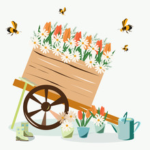 Cart With Flowers In The Flat Style