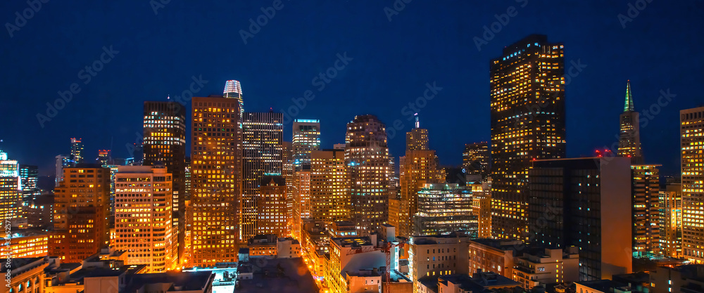 Fototapeta Downtown San Francisco skyline buildings and skyscrapers