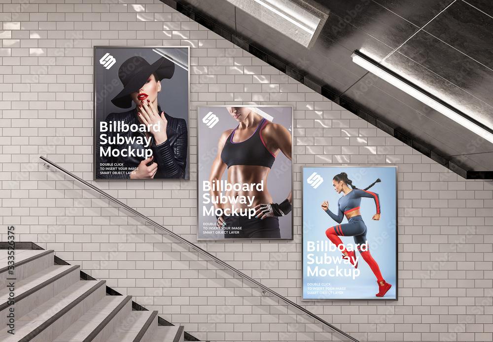 Fototapeta Billboards on Underground Stairs Wall Mockup