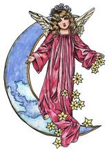 Beautiful Angel On The Moon Sp...
