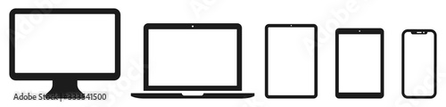 Photo Device icon set: Laptop, Computer, Tablet and Smartphone