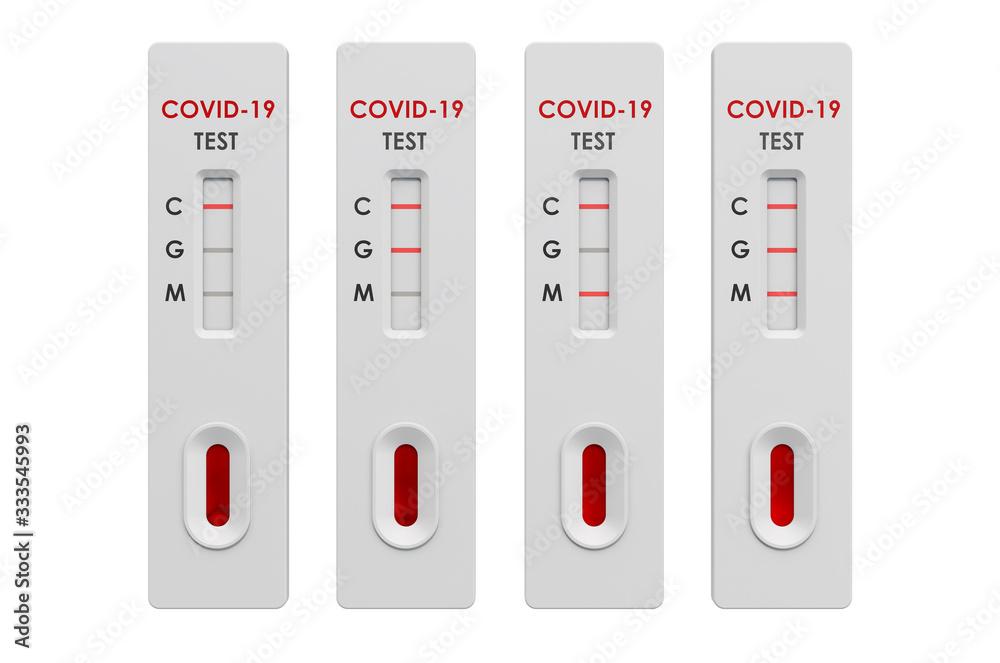 Fototapeta Tests COVID-19 coronavirus, positive and negative rapid test cassettes, 3D rendering