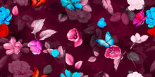 Wide Floral Vintage Seamless Background Pattern. Roses Flowers, Tulips With Leaf And Butterfly Around On Dark Red. Watercolor Abstract, Hand Drawn, Vector - Stock.