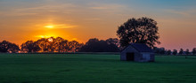 Sunset At A Dutch Farm Landsca...