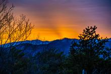 Orange Sunrise In The Mountains