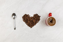 I Love Coffee With Coffee Beans In Heart Shape With Cup Of Coffee