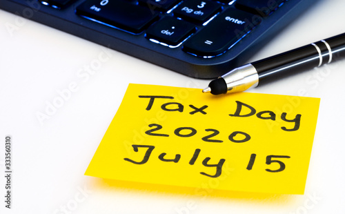 Tax day postponed by american government to July 15th 2020 Fototapet