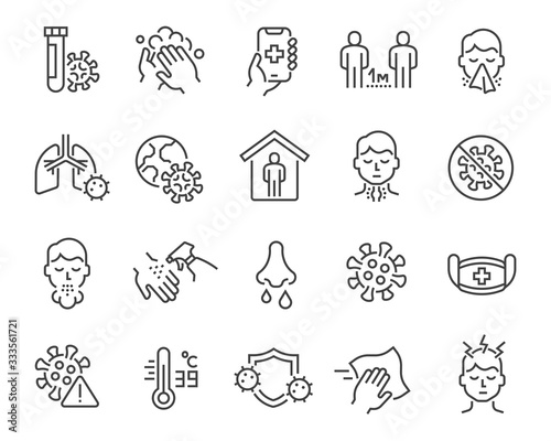 Vászonkép Flu and coronavirus icons set