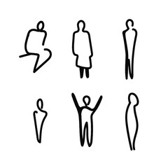 Vector illustration, Outline silhouettes of people, Contour drawing, people silhouette,  Icon Set Isolated , Silhouette of sitting people, Architectural set
