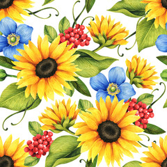 Fototapeta Słoneczniki Floral seamless pattern with decorative sunflowers, poppies, berries, flowers and leaves.
