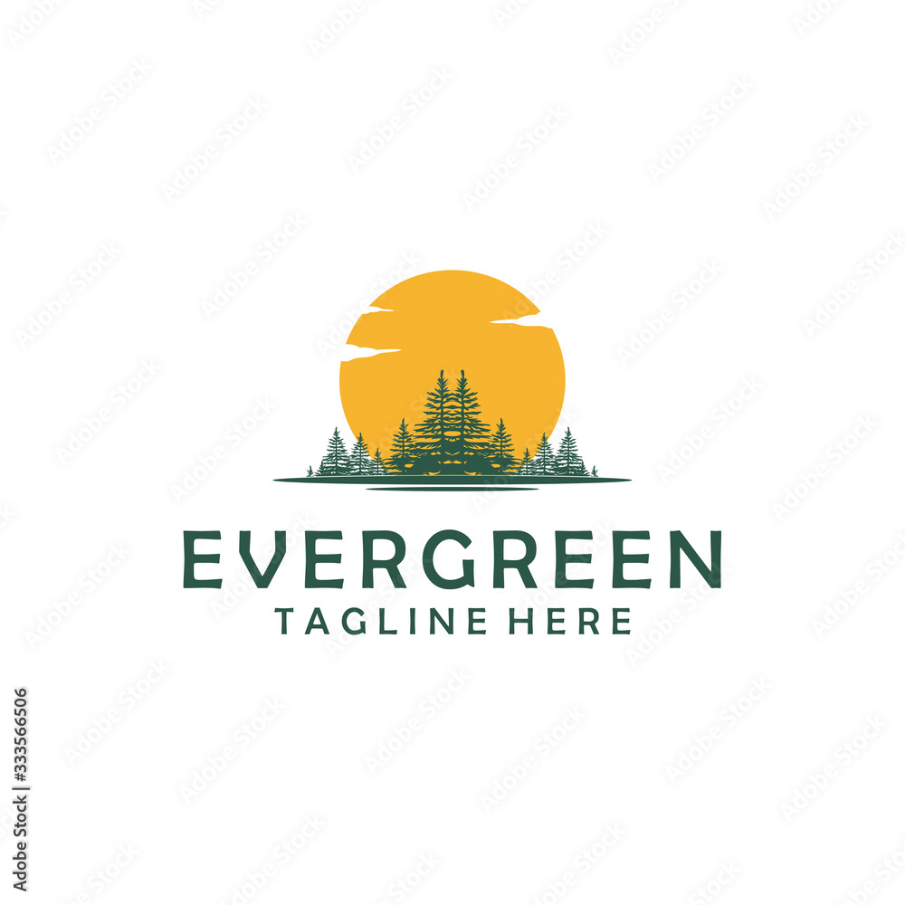 Fototapeta Evergreen, Pines, Spruce, Cedar trees logo design