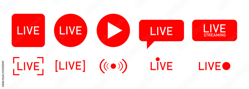 Fototapeta Set of live streaming icons. Red symbols and buttons of live streaming, broadcasting, online stream.  template for tv, shows, movies and live performances. Vector