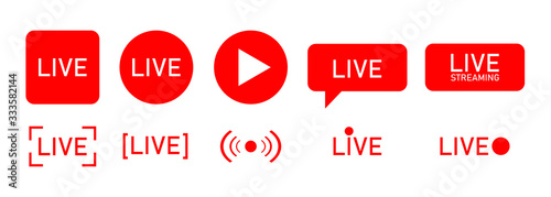 Fototapeta Set of live streaming icons. Red symbols and buttons of live streaming, broadcasting, online stream.  template for tv, shows, movies and live performances. Vector obraz
