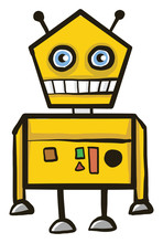 Scared Yellow Robot, Illustrat...