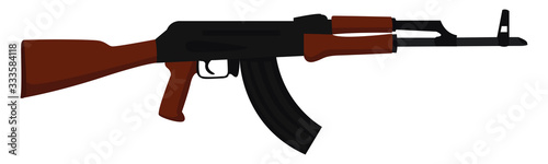 Photo AK-47 rifle, illustration, vector on white background