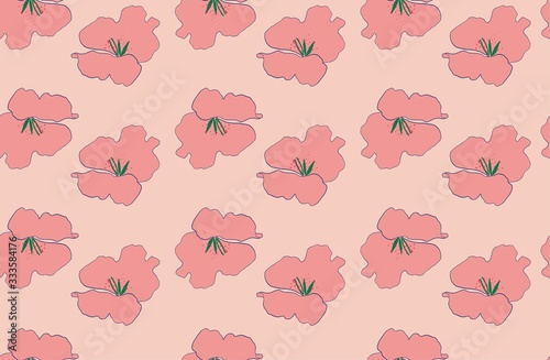 Photo pink and peach vintage retro floral seamless vector pattern