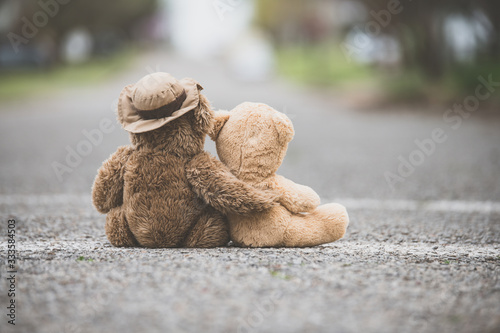 Photo One teddy bear with his/her arm wrapped around a smaller teddy bear showing comp