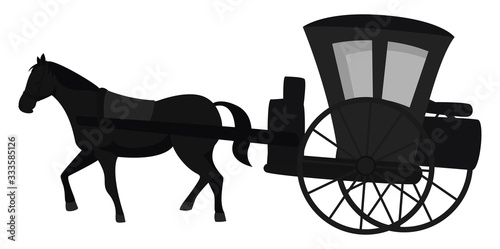 Photo Carriage with horse, illustration, vector on white background