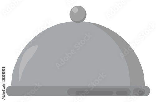 Domed tray, illustration, vector on white background Wallpaper Mural