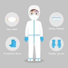 Doctors Character Wearing In Full Protective Suit Clothing Isolated And Safety Equipment For Prevent Virus Wuhan Covid-19.Corona Virus, People Wearing Personal Protective Equipment.Work Safety