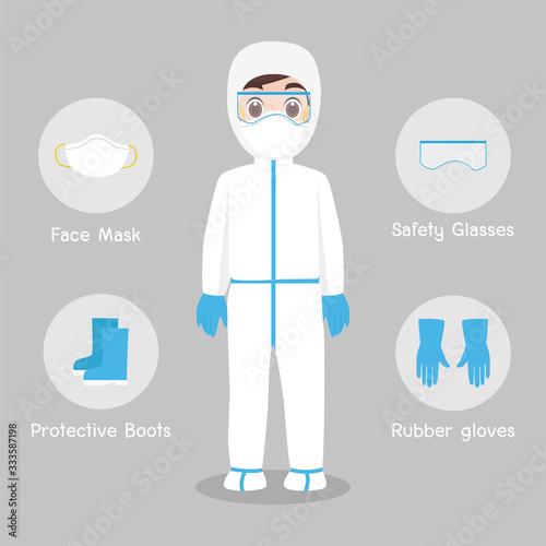 Photo Doctors Character wearing in full protective suit Clothing isolated and Safety Equipment for prevent virus Wuhan Covid-19