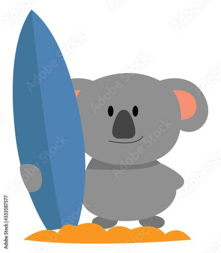 Koala with surfing board, illustration, vector on white background Wallpaper Mural