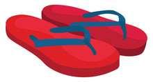 Red Flip Flops, Illustration, ...