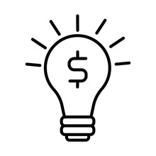 Bulb With Dollar Symbol Line S...
