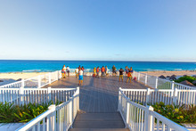 Cancun, Mexico - 20 March, 2020: Playa Delfines (Dolphin Beach) Nicknamed El Mirador (The Lookout) – One Of The Most Scenic Public Beaches In Riviera Maya