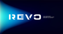 Revo, An Abstract Sporty Alphabet Font. Digital Space Typography Vector Illustration Design