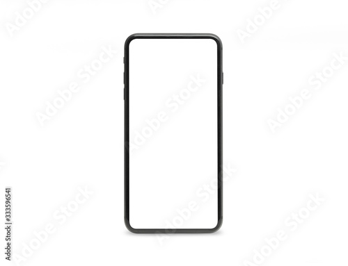 Fotografía Black mobile smartphone mockup with blank screen isolated on white background with clipping path, Can use mock-up for your application or website design project
