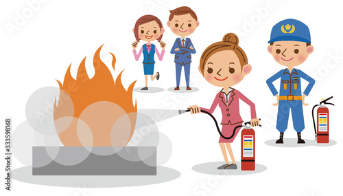 職場での消火訓練の様子 Wallpaper Mural