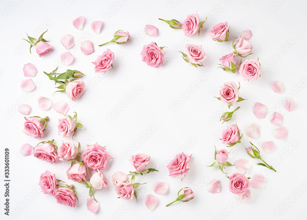 Fototapeta Rose flowers on white background with copy space for design, text. Top view of pink roses and rose buds.