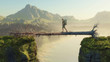 Leinwanddruck Bild - Mountain  bridge