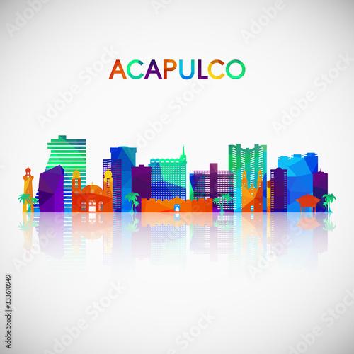 Fotografia, Obraz Acapulco skyline silhouette in colorful geometric style